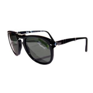 【正規販売】Persol(ペルソール) PO0714 95 58 おりたたみサングラス BLACK GREEN 偏光レンズ|thepark