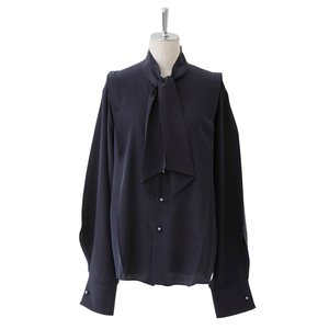 beautiful people ビューティフルピープル レディース 17-18A/W super dechine sf tie blouse navy|thepark