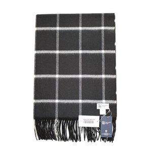 【正規販売】Johnstons/ジョンストンズ 大判カシミアストール WA000056 CASHMERE STOLES AU0331 BLACK WITH WHITE WINDOWPANE|thepark