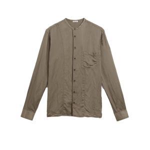 tomas maier MEN'S トーマスマイヤー メンズ 17-18A/W バンドカラーシルクシャツ BEIGE|thepark
