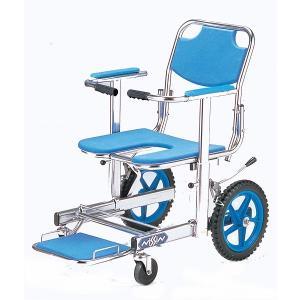 NSW-12 入浴用車椅子(車いす) 日進医療器製 セラピーならメーカー正規保証付き/条件付き送料無料 高強度のステンレス/ブレーキ|therapy-shop
