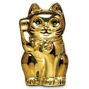バカラ 招き猫 まねきねこ フィギュリン クリスタルガラス製 Baccarat LUCKY CAT まねき猫 ゴールド金色  オブジェ動物置き物 2612997 高さ10.5cm|therichcojp