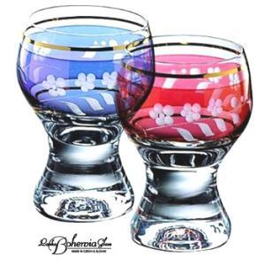 日本酒冷酒グラスペアセット  ボヘミアクリスタルガラス製  酒器・酒杯2個組 桜 酒グラス|therichcojp