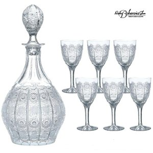 ワインデカンタ&ワイングラス6本セット 500PK 58/691/500/7  ボヘミア最高級クリスタルガラス製|therichcojp