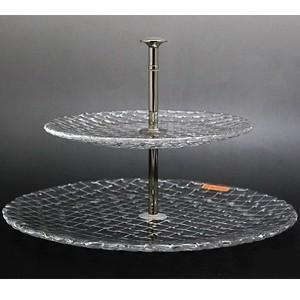 ナハトマン Nachtmann ボサノバ 78538 2段ケーキスタンド 23cm+32cm  クリスタルガラス製|therichcojp
