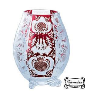 高級ガラス花瓶 花器  ボヘミアクリスタルガラス製  フラワーベース 赤  エーゲルマン アガット ...