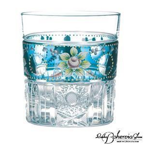 ウイスキー水割りグラス ボヘミアガラス  ロック/オールドグラス ブルーラスターローズ  EGL-591|therichcojp