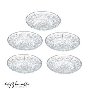 ガラス皿 プレート5枚セット 小皿・取り皿5枚組  500PK 径10.7cm PD300  ボヘミア最高級クリスタルガラス製|therichcojp