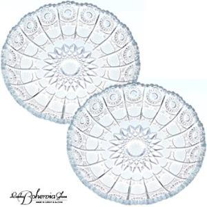 ガラス皿 プレートペアセット ケーキ皿2枚組  500PK 径19cm PD307  ボヘミア最高級クリスタルガラス製|therichcojp