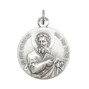 表は幼子イエスを抱き百合の花を持った聖ヨセフ、裏は聖ユダ・タダイのドイツ製メダイです。 現行品の中で...