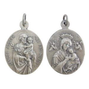表は幼子イエスを抱き百合の花を持った聖ヨセフ、裏は絶えざる御助けの聖母のドイツ製メダイです。 現行品...
