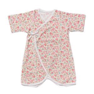 日本製ベビー服 コンビ肌着 年間素材 フライス 花柄 50cm 60cm 50-60cm 1201142 メール便|think-b