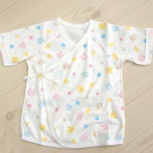 日本製ベビー服 短肌着 フライス 動物柄 50cm 60cm 綿100% 年間素材 1201161 メール便|think-b