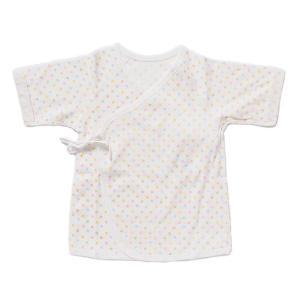 日本製ベビー服 短肌着 フライス 女の子 男の子 水玉柄 50cm 60cm 1201181 メール便|think-b