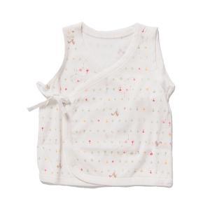 日本製ベビー服 ノースリーブ短肌着 夏素材さわやか天竺 リンゴリス柄 50cm 60cm 70cm 1201294 メール便|think-b