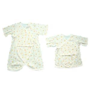 日本製ベビー服 短肌着とコンビ肌着のセット夏向き さわやか素材 天竺 ピヨピヨ 50/60cm 1205227|think-b