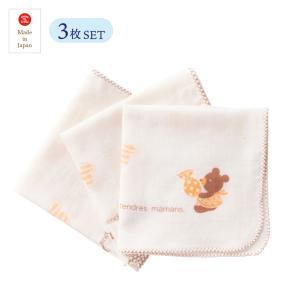 日本製ベビー服 ガーゼハンカチ 3枚入り オーガニックコットン 沐浴・お風呂に 1725061 メール便|think-b