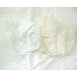 日本製ベビー服 ベビーキャップ 帽子 フード ヘッドドレス ボンネット 夏 天竺ジャガード 2500303 メール便 think-b