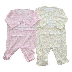 日本製ベビー服 秋冬花柄カバーオール 女の子 0歳 1歳 18ヶ月 新生児 ピンク 黄色 60cm70cm80cm 2505104 think-b