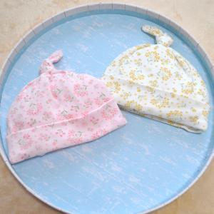 日本製ベビー服 ベビーキャップ 赤ちゃん帽子 女の子 0歳 ピンク イエロー 新生児 42cm 2505105 メール便 think-b