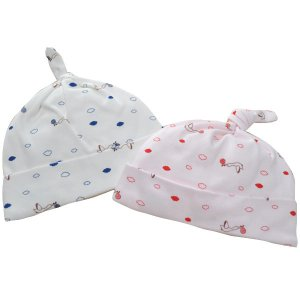 日本製ベビー服 ベビーキャップ スムースコウノトリ柄 男の子 女の子 ピンク ネイビー 0歳 1歳 新生児 冬生まれ 出産祝い 2505125 メール便 think-b