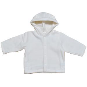 日本製ベビー服 秋冬くま耳フリースカーディガン 男の子 女の子 0歳 1歳 新生児 ホワイト 白 50cm 60cm 70cm 80cm 50-80cm 2507001 think-b