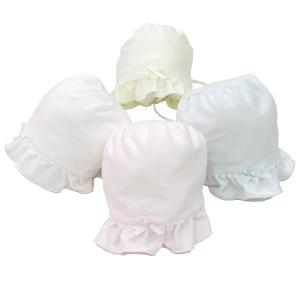 日本製ベビー服 セレモニーキャップ ボンネットフード スーピマスムース 2530125 think-b