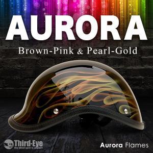 限定 バイク ヘルメット ハーフキャップ AURORA FLAMES ベッカー ブラウンピンク&パールゴールド thirdeye