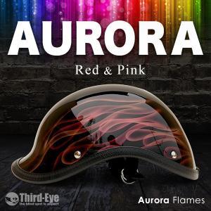 限定 バイク ヘルメット ハーフキャップ AURORA FLAMES ベッカー レッド&ピンク thirdeye