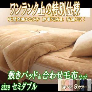 毛布 セミダブル 2枚合わせ 敷きパッドセット グラン