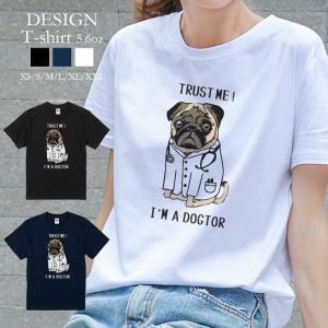 Tシャツ レディース 半袖 トップス 男女兼用 Deuces パグ PUG 犬 イヌ ロゴ ドクター...