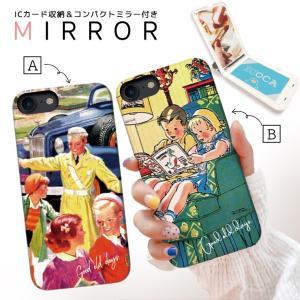スマホケース iPhone XR X XS Max 8 7 6 plus SE ケース 鏡付き ミラー ケース ICカード カード収納 おしゃれ レトロ ビンテージ イラスト アメリカ 大人 女子|three-o-one