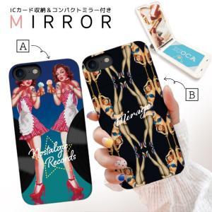スマホケース iPhone XR X XS Max 8 7 6 plus SE ケース 鏡付き ミラー ケース ICカード カード収納 おしゃれ レトロ ビンテージ セクシー ピンナップ イラスト|three-o-one