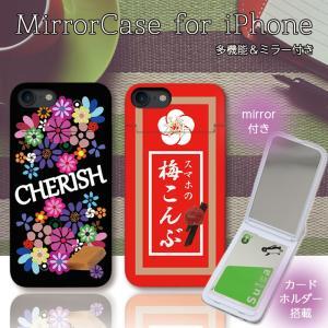 iPhone11 Pro Max XR X XS Max ケース 鏡付き ミラー ケース ICカード カード収納 お菓子 キャンデー 梅こんぶ パロディ おもしろ three-o-one