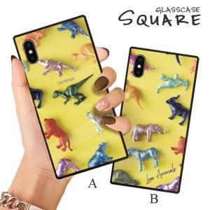 スマホケース iPhone11 Pro Max iPhone XR ケース 背面強化ガラス ケース iPhone8 XS 恐竜 動物 アニマル おもちゃ カラフル ポップ 大人 かわいい おしゃれ|three-o-one
