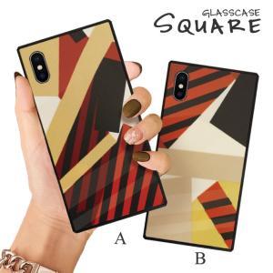 スマホケース iPhone11 Pro Max iPhone XR ケース 背面強化ガラス ケース iPhone8 XS レトロ モダン 幾何学 模様 ジオメトリック 大人 おしゃれ|three-o-one