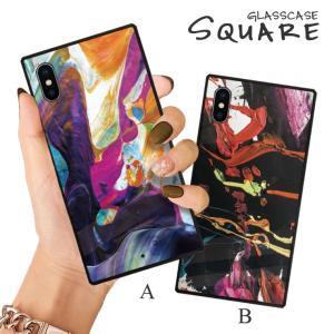 スマホケース iPhone11 Pro Max iPhone XR ケース 背面強化ガラス ケース iPhone8 XS 絵具 油彩 アート グラフィティ カラフル 派手 ポップ 大人 カッコいい|three-o-one