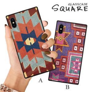 スマホケース iPhone11 Pro Max iPhone XR ケース 背面強化ガラス ケース iPhone8 XS ネイティブ 柄 オルテガ 民族 カラフル 大人 おしゃれ かっこいい メンズ|three-o-one