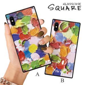 スマホケース iPhone11 Pro Max iPhone XR ケース 背面強化ガラス ケース iPhone8 XS 絵具 ペイント 油絵 アート カラフル スマイル ニコちゃん メッセージ|three-o-one