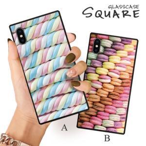 スマホケース iPhone11 Pro Max iPhone XR ケース 背面強化ガラス ケース iPhone8 XS お菓子 スイーツ マシュマロ マカロン ゆめ かわいい パステル 大人 女子|three-o-one