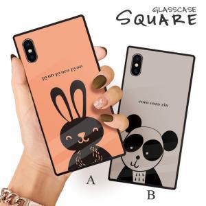 スマホケース iPhone11 Pro Max iPhone XR ケース 背面強化ガラス ケース iPhone8 XS パンダ うさぎ イラスト 北欧 ゆるかわ メルヘン 動物 大人 女子 かわいい|three-o-one