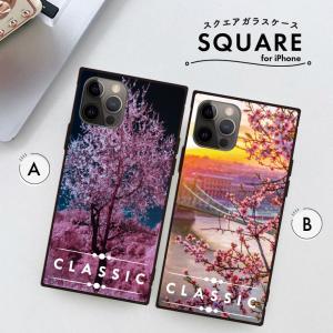 スマホケース アイフォン8 iPhone XR X XSMAX 背面ガラス ケース galaxy S9 S9+ 強化ガラス  カバー ケース 桜 さくら ブリッジ 橋 花柄|three-o-one