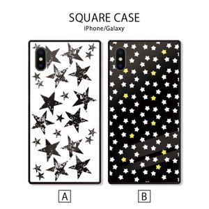 スマホケース アイフォン8 iPhone XR X XSMAX 背面ガラス ケース galaxy S9 S9+ 強化ガラス  カバー ケース 星柄 ビンテージ かっこいい|three-o-one