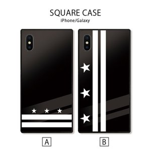 スマホケース アイフォン8 iPhone XR X XSMAX 背面ガラス ケース galaxy S9 S9+ 強化ガラス  カバー ケース 星柄 スター シンプル かっこいい|three-o-one