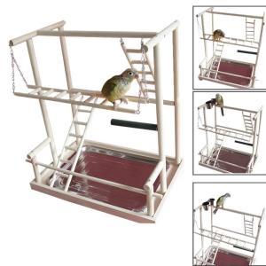 鳥スタンド 止まり木 ケージスタンド 原木 タワー カゴ インコ オウム 遊園地 ブランコ 水台 餌台 はしご 鳥の巣 鳥栖 支え 棚 鳥かご ケージ|three-pieces