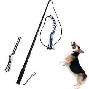 犬用 ロープ ANG 犬じゃらし 犬のおもちゃ 釣竿型 四節伸縮できる杖付き 交換用おもちゃ付き 大型犬 丈夫 (L, ブラック)|three-pieces