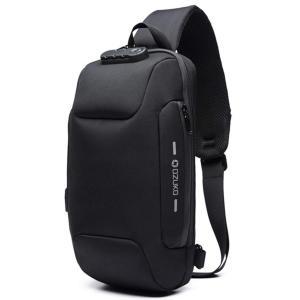 [OZUKO] ボディバッグ メンズ 斜めがけ ショルダーバッグ 大容量 防水 USBポート付き ワンショルダー 軽量 盗難防止 iPad収納可能 (|three-pieces
