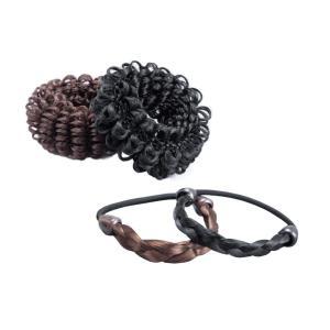 代引不可 アレンジ簡単!ウィッグのヘアゴム4個組三つ編み 髪の毛 シュシュ three-s7777