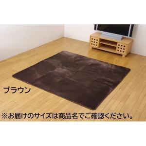 代引不可/水分をはじく 撥水加工カーペット 絨毯 ホットカーペット対応 『撥水リラCE』 ブラウン 185×185cm 正方形/代引不可|three-s7777