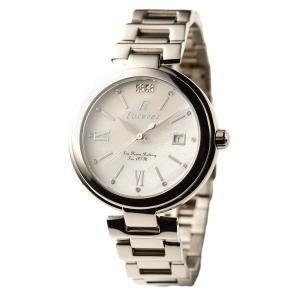 代引不可/Forever(フォーエバー) 腕時計 デイト付き FG-1201-8 ホワイトシェル×シルバー/代引不可 three-s7777